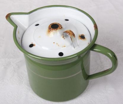 Afbeeldingen van Oud groen geemaleerde papmelkpan