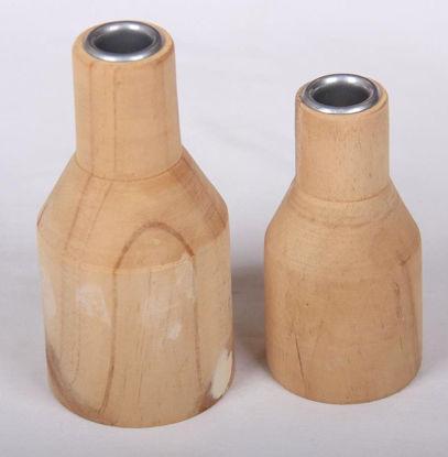 Afbeeldingen van Blank houten kandelaar set van 2