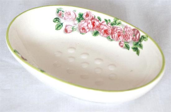 Afbeelding van Oud ovaal zeepbakje met bloemen