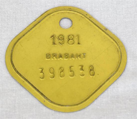 Afbeelding van Oud oormerk koe geel