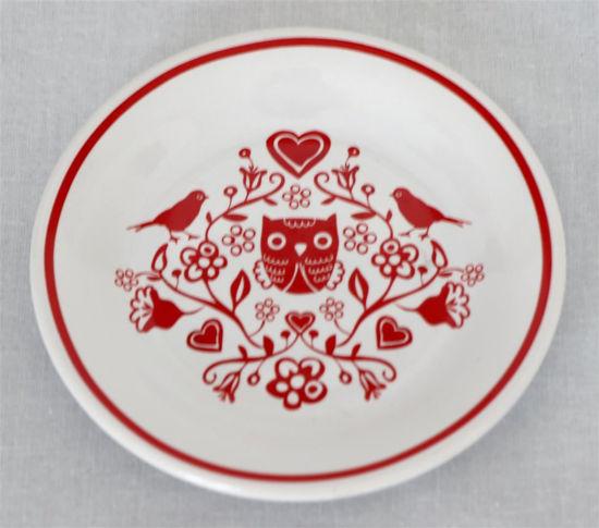 Afbeelding van Klein bordje met rode uiltjes