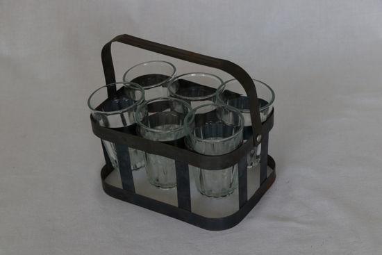 Afbeelding van Metalen mandje met 6 glaasjes