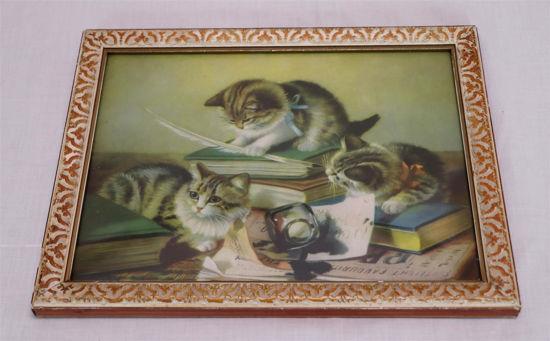 Afbeelding van Oud schilderijtje met poezen