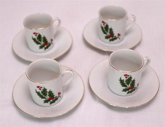 Afbeelding van Kleine kerst kop en schotel 4x